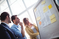Thoughtful business people looking at blueprints Royalty Free Stock Images