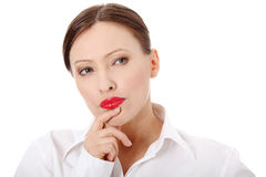 Thoughtful business woman Stock Photo