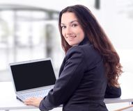 Thoughtful business woman for a laptop Stock Photography