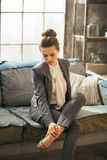 Thoughtful business woman in loft apartment Stock Images