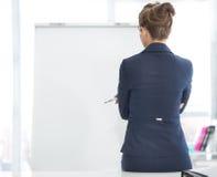 Thoughtful business woman standing near flipchart Royalty Free Stock Photography