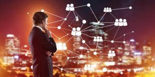Modern wireless technologies and networking as tool for effective business Stock Photos