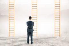 Thoughtful businessman career ladders. Thoughtful businessman looking at career ladders on abstract landscape background vector illustration