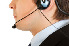 Thoughtful businessman with headset. Close-up. Stock Photos