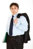 Thoughtful businessman holding folder in hand Stock Photography