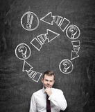 A thoughtful businessman is holding his chin. Drawn arrows with exclamation and question marks on the black chalkboard behind the Royalty Free Stock Photo
