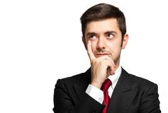 Thoughtful businessman isolated on white Stock Image