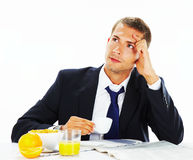 Thoughtful  businessman looking up Royalty Free Stock Images