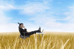 Thoughtful businessman at outdoor office royalty free stock photo