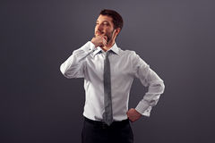Thoughtful businessman in white shirt royalty free stock images