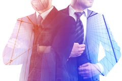 Employment concept. Thoughtful businessmen on abstract city background. Employment concept. Double exposure Royalty Free Stock Image