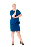 Thoughtful businesswoman in blue dress Royalty Free Stock Photo