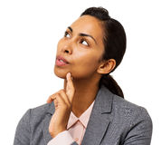 Thoughtful Businesswoman With Finger On Chin Royalty Free Stock Image