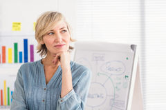 Thoughtful businesswoman in front of a white board Royalty Free Stock Images