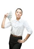 Thoughtful businesswoman holding money Stock Photography