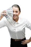Thoughtful businesswoman holding money Stock Photo