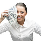 Thoughtful businesswoman holding money Stock Photos