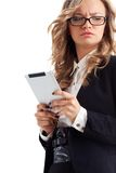 Thoughtful businesswoman holding tablet Royalty Free Stock Images
