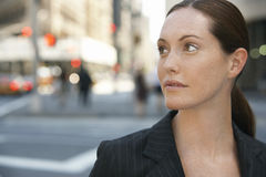 Thoughtful Businesswoman Looking Away On Road Stock Photos