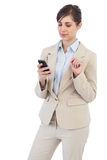 Thoughtful businesswoman on the phone Stock Photos