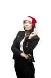 Thoughtful businesswoman in santa hat on white Stock Photos