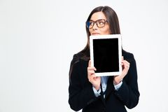 Thoughtful businesswoman showing tablet compute Royalty Free Stock Image