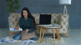 Thoughtful businesswoman working in home office stock footage