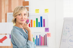 Thoughtful businesswoman writing on a white board Royalty Free Stock Image