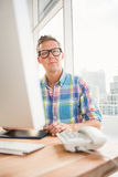 Thoughtful casual designer working with digitizer Stock Photos