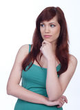 Thoughtful casual girl Royalty Free Stock Photography