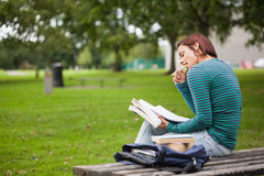 Thoughtful casual student sitting on bench reading Stock Photos