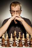 Thoughtful chess master Stock Photos