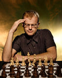 Thoughtful chess master Royalty Free Stock Image