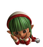 Thoughtful christmas elf Stock Image