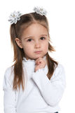 Thoughtful clever preschool girl Stock Image