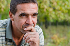 Thoughtful concerned man Royalty Free Stock Photos