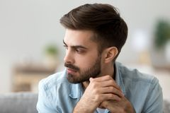Free Thoughtful Concerned Man Thinking About Problem Solution Lost In Thoughts Stock Images - 138904284