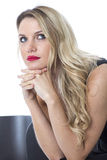 Thoughtful Concerned Worried Alone Young Woman Sitting Waiting Stock Photography