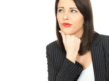 Thoughtful Conerned Young Business Woman Stock Photos