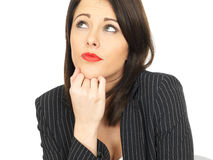 Thoughtful Conerned Young Business Woman Royalty Free Stock Photography