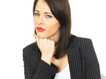 Thoughtful Conerned Young Business Woman Royalty Free Stock Images