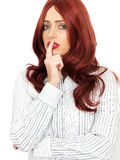 Thoughtful Confused Worried Young Woman With Long Red Hair Royalty Free Stock Images
