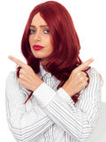 Thoughtful Confused  Worried Young Woman With Red Hair Stock Photos