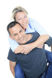 A Thoughtful couple hugging - isolated over white stock photo