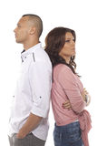 Thoughtful Couple Standing Back To Back Royalty Free Stock Images