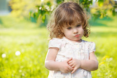 Thoughtful curly girl Royalty Free Stock Photo