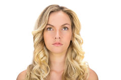 Thoughtful curly haired blonde posing Stock Photos