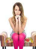 Thoughtful Depressed Worried Young Woman royalty free stock images