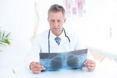 Thoughtful doctor holding xray Stock Image