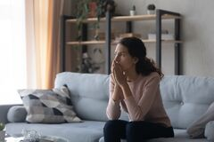Free Thoughtful Doubtful Young Woman Feeling Nervous About Hard Decision. Royalty Free Stock Image - 180609826